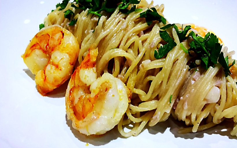 Knobi-Spaghetti mit Riesengarnelen